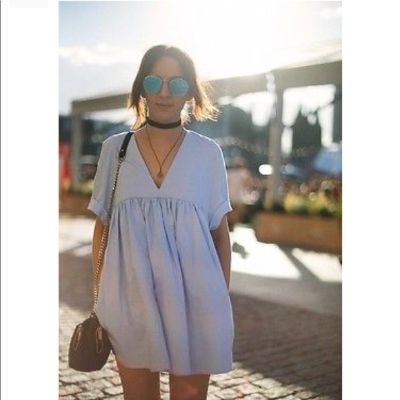 dc098db1503b NWT Zara Baby Blue Poplin Jumpsuit Dress Romper
